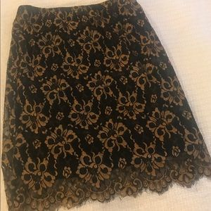 Black and gold lace skirt